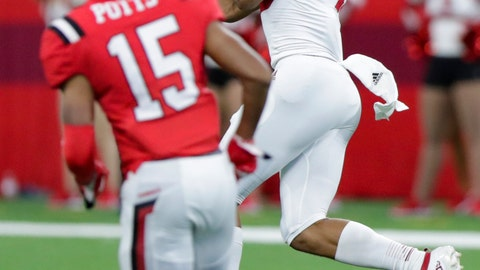 <p>               Indiana wide receiver Nick Westbrook, right, makes a catch in front of Ball State cornerback Tyler Potts (15) on his way to a touchdown during the first half of a college football game in Indianapolis, Saturday, Aug. 31, 2019. (AP Photo/Michael Conroy)             </p>
