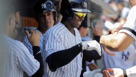 <p>               New York Yankees' Didi Gregorius celebrates with teammates after hitting a three-run home run during the first inning of a baseball game against the Baltimore Orioles in the first game of a doubleheader Monday, Aug. 12, 2019, in New York. (AP Photo/Frank Franklin II)             </p>