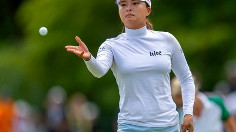<p>               Jin Young Ko, of South Korea, tosses a golf ball to her caddie on the first green during the third round of the CP Women's Open in Aurora, Ontario, Canada, Saturday, Aug. 24, 2019. (Frank Gunn/The Canadian Press via AP)             </p>