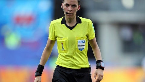 <p>               FILE - In this Saturday, June 29, 2019 file photo, Referee Stéphanie Frappart of France during the of the Women's World Cup quarterfinal soccer match between Germany and Sweden at Roazhon Park in Rennes, France. Frappart has been appointed as the referee for the European Super Cup between Liverpool and Chelsea, making her the first woman to officiate a major UEFA men's showpiece event. UEFA announced Frappart's appointment on Friday, Aug. 2, 2019. (AP Photo/David Vincent, File)             </p>