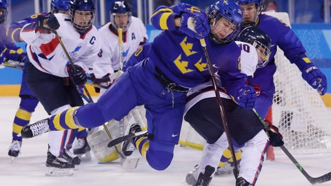 """<p>               FILE - In this Feb. 20, 2018, file photo, Erika Grahm (24), of Sweden, fights for control of the puck with South Korea's Choi Jiyeon (10), of the combined Koreas team, during the first period of the classification round of the women's hockey game at the 2018 Winter Olympics in Gangneung, South Korea. The leading female hockey players in Sweden were refusing to attend a training camp Thursday, Aug. 15, 2019, or play in an upcoming international tournament in Finland over a pay dispute with the country's federation. A statement was posted on social media by Sweden player Erika Grahm, saying the action is being taken to """"develop and create better conditions"""" in the national team to show """"encouragement and respect"""" for current and future generations.(AP Photo/Frank Franklin II, File)             </p>"""