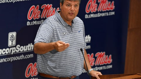 <p>               Mississippi head football coach Matt Luke speaks during Mississippi's Media Day at the Manning Center in Oxford, Miss. on Thursday, Aug. 1, 2019. Mississippi begins NCAA college football practice on Friday and opens the season against Memphis on Aug. 31, 2019.  (AP Photo/Thomas Graning)             </p>