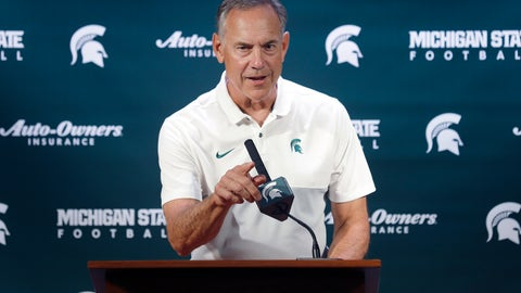 <p>               Michigan State football coach Mark Dantonio talks with reporters during the team's NCAA college football media day, Monday, Aug. 5, 2019, in East Lansing, Mich. (AP Photo/Al Goldis)             </p>