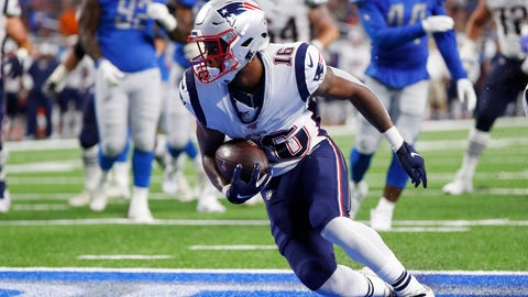 <p>               New England Patriots receiver Jakobi Meyers (16) pulls in a 5-yard pass for a touchdown during the first half of the team's preseason NFL football game against the Detroit Lions, Thursday, Aug. 8, 2019, in Detroit. (AP Photo/Rick Osentoski)             </p>
