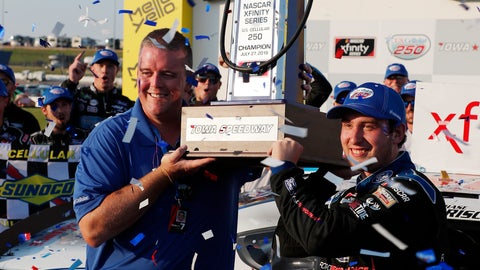 <p>               Matt Sampson, left, and Chase Briscoe, right, hold up a NASCAR Xfinity Series auto race championship trophy, Saturday, July 27, 2019, at Iowa Speedway in Newton, Iowa. (AP Photo/Matthew Putney)             </p>
