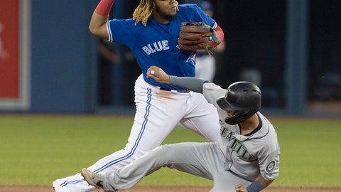 <p>               Seattle Mariners' Tim Lopes gets forced out at second base as Toronto Blue Jays' Vladimir Guerrero Jr. turns the double play during first inning American League MLB baseball action in Toronto, Saturday, Aug. 17, 2019. (Fred Thornhill/The Canadian Press via AP)             </p>
