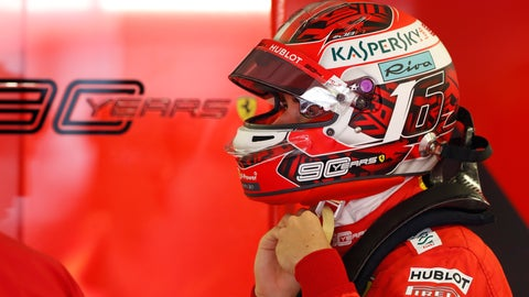 <p>               Ferrari driver Charles Leclerc of Monaco prepares for the third practice session of the Hungarian Formula One Grand Prix at the Hungaroring racetrack in Mogyorod, northeast of Budapest, Hungary, Saturday, Aug. 3, 2019. The Hungarian Formula One Grand Prix takes place on Sunday. (AP Photo/Laszlo Balogh)             </p>