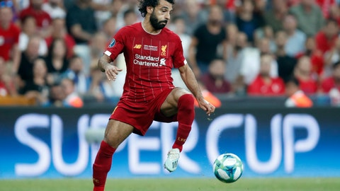 <p>               Liverpool's Mohamed Salah controls the ball during the UEFA Super Cup soccer match between Liverpool and Chelsea, in Besiktas Park, in Istanbul, Wednesday, Aug. 14, 2019. (AP Photo/Thanassis Stavrakis)             </p>