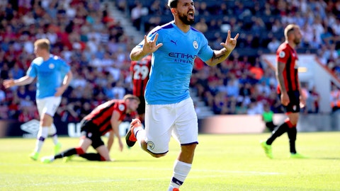 <p>               Manchester City's Sergio Aguero celebrates scoring his side's third goal of the game during the English Premier League soccer match between Bournemouth and Manchester City at the Vitality Stadium, Bournemouth, England, Sunday Aug. 25, 2019. (Adam Davy/PA via AP)             </p>
