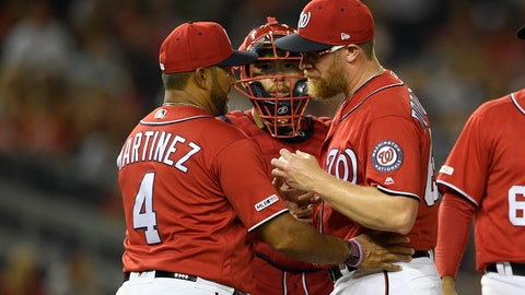 <p>               Washington Nationals relief pitcher Sean Doolittle, right, is pulled from the baseball game by manager Dave Martinez (4) during the ninth inning against the Milwaukee Brewers, Saturday, Aug. 17, 2019, in Washington. Catcher Kurt Suzuki is at rear. (AP Photo/Nick Wass)             </p>