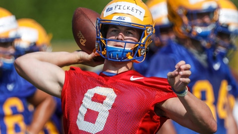 <p>               FILE - This Aug. 2, 2019, file photo shows Pittsburgh quarterback Kenny Pickett as he passes in a drill during an NCAA football practice in Pittsburgh. A preseason poll has projected Pitt to finish 4th in their ACC Coastal Division after being the division champion last season. (AP Photo/Keith Srakocic, File)nam             </p>