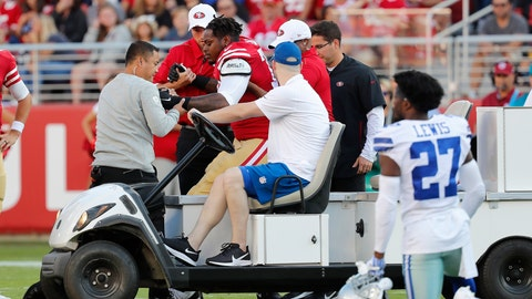 <p>               San Francisco 49ers offensive tackle Shon Coleman, center left, is helped onto a cart during the first half of the team's NFL preseason football game against the Dallas Cowboys in Santa Clara, Calif., Saturday, Aug. 10, 2019. (AP Photo/Josie Lepe)             </p>