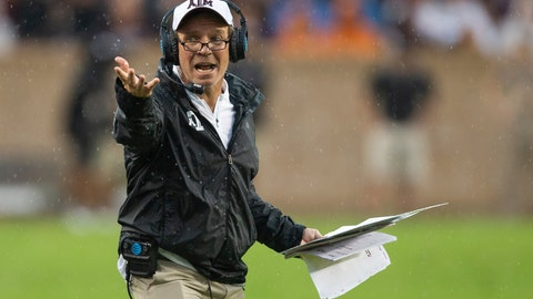 <p>               FILE - In this Sept. 8, 2018, file photo, Texas A&M head coach Jimbo Fisher reacts after a call during the first half of an NCAA college football game against Clemson, in College Station, Texas. Texas A&M faces four of the top eight teams from the season-ending AP poll. The Aggies play three of those games on the road, including visits to Georgia and LSU the last two weeks of the season. (AP Photo/Sam Craft, File)             </p>