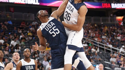 <p>               Team White forward Jarrett Allen (36) goes up for a dunk against Team Blue forward Thaddeus Young (55) during the first half of the U.S. men's basketball team's scrimmage in Las Vegas, Friday, Aug. 9, 2019. (Erik Verduzco/Las Vegas Review-Journal via AP)             </p>