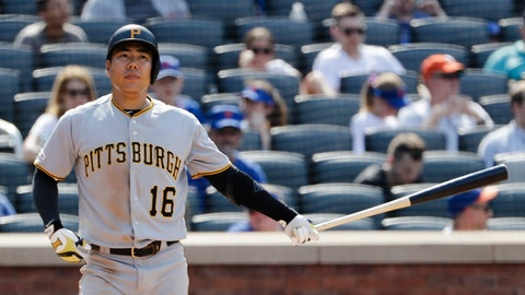 <p>               Pittsburgh Pirates' Jung Ho Kang, of Korea, reacts after striking out during the eighth inning of a baseball game against the New York Mets Sunday, July 28, 2019, in New York. (AP Photo/Frank Franklin II)             </p>