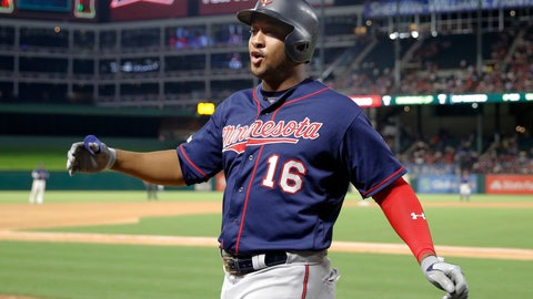 <p>               Minnesota Twins' Jonathan Schoop celebrates as he walks up to the dugout after hitting a two-run home run off Texas Rangers' Mike Minor during the seventh inning of a baseball game in Arlington, Texas, Friday, Aug. 16, 2019. The shot scored Marwin Gonzalez. (AP Photo/Tony Gutierrez)             </p>