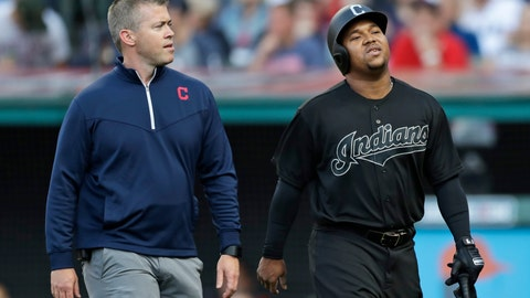 <p>               Cleveland Indians' Jose Ramirez, right, walks off the field with a trainer during the first inning of the team's baseball game against the Kansas City Royals, Saturday, Aug. 24, 2019, in Cleveland. (AP Photo/Tony Dejak)             </p>