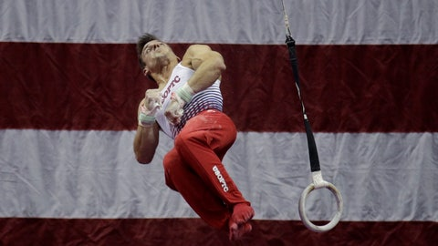 <p>               Sam Mukulak competes on the rings during the U.S. Gymnastics Championships on Thursday, Aug. 8, 2019, in Kansas City, Mo. (AP Photo/Charlie Riedel)             </p>