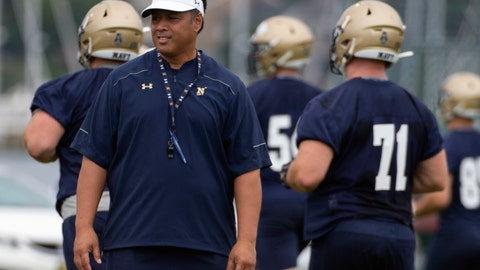 <p>               FILE - In this Aug. 2, 2019, file photo, Navy head coach Ken Niumatalolo stands on the field as players warm up during NCAA college football training camp in Annapolis, Md. In the wake of a dismal 2018 season that ended with a disappointing 3-10 record, Navy head coach Ken Niumatalolo made sweeping changes. The result of the overhaul will be on full display Saturday when the Midshipmen open a new season at home against Holy Cross.(AP Photo/Tommy Gilligan, File)             </p>
