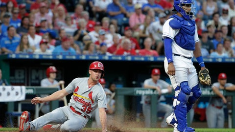 <p>               St. Louis Cardinals' Lane Thomas slide home to score on a single by Tommy Edman during the third inning of a baseball game against the Kansas City Royals Tuesday, Aug. 13, 2019, in Kansas City, Mo. (AP Photo/Charlie Riedel)             </p>