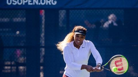 <p>               Serena Williams, of the United States, returns the ball as she practices for the U.S. Open tennis tournament Saturday, Aug. 24, 2019, in New York. (AP Photo/Eduardo Munoz Alvarez)             </p>