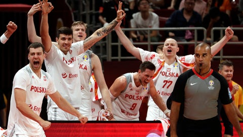 <p>               Poland's bench reacts during their group phase basketball game against Venezuela in the FIBA Basketball World Cup at the Cadillac Arena in Beijing, Saturday, Aug. 31, 2019. (AP Photo/Mark Schiefelbein)             </p>
