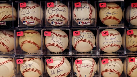 <p>               A portion of Bob and Susan Hope's baseball collection is seen with price stickers attached, Friday, Aug. 23, 2019, in Stone Mountain, Ga. Susan died about two years ago, leaving behind the collection to her surviving husband. (AP Photo/Andrea Smith)             </p>