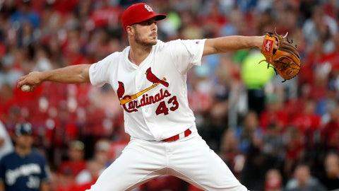 <p>               St. Louis Cardinals starting pitcher Dakota Hudson throws during the fourth inning of a baseball game against the Milwaukee Brewers, Monday, Aug. 19, 2019, in St. Louis. (AP Photo/Jeff Roberson)             </p>