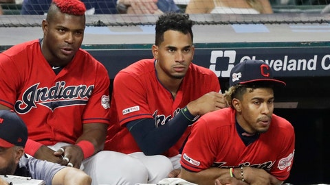 <p>               From left to right, Cleveland Indians' Yasiel Puig, Oscar Mercado and Francisco Lindor watch the ninth inning in a baseball game against the Texas Rangers, Monday, Aug. 5, 2019, in Cleveland. (AP Photo/Tony Dejak)             </p>