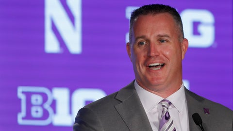 <p>               FILE - In this July 19, 2019, file photo, Northwestern head coach Pat Fitzgerald responds to a question during the Big Ten Conference NCAA college football media days in Chicago. Coming off a 9-5 season, which included a Big Ten West title, Northwestern is poised for another solid season, but must find a replacement for four-year starter Clayton Thorson at quarterback. Clemson transfer Hunter Johnson, TJ Green and Aidan Smith are the main contenders. (AP Photo/Charles Rex Arbogast, File)             </p>