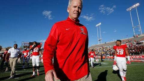 """<p>               FILE - In this Nov. 24, 2018, file photo, New Mexico coach Bob Davie walks off the field after the team's NCAA college football game against Wyoming in Albuquerque, N.M. New Mexico says Davie was taken to the hospital after what it called """"a serious medical incident,"""" following the team's he team's game Saturday night, Aug. 31, against Sam Houston State. Athletic director Eddie Nunez released a statement after the Lobos won 39-31 at home in Albuquerque, New Mexico. Nunez said the university will release more information as it becomes available. (AP Photo/Andres Leighton, File)             </p>"""