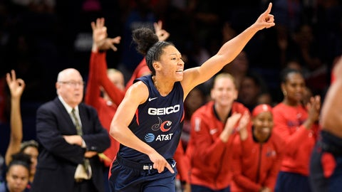<p>               Washington Mystics forward Aerial Powers reacts during the first half of the team's WNBA basketball game against the Seattle Storm, Wednesday, Aug. 14, 2019, in Washington. (AP Photo/Nick Wass)             </p>