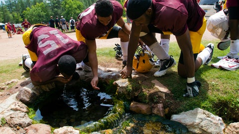 <p>               FILE - In this Aug. 15, 2012, file photo, Arizona State wide receivers Rashad Ross, left, JJ Holliday, center, and Alonzo Agwuenu drink water from a spring after NCAA college football practice at Camp Tontozona in Kohls Ranch, Ariz. Arizona State football players are returning to a newly renovated training camp, restoring a beloved football tradition. The Arizona Republic reported Monday, Aug. 5, 2019, that the Sun Devils had to cancel the preseason training camp last year at their usual facility near the mountain town of Payson after wet conditions delayed the installation of an artificial grass football field. The field was completed in April at Tonto Creek Camp, which was formerly named Camp Tontozona. (Michael Chow/The Arizona Republic via AP, File)             </p>