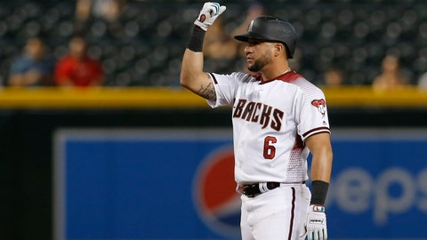 <p>               Arizona Diamondbacks' David Peralta reacts after hitting a double against the Colorado Rockies in the seventh inning during a baseball game, Monday, Aug. 19, 2019, in Phoenix. (AP Photo/Rick Scuteri)             </p>