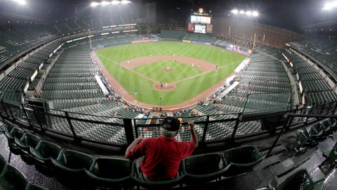<p>               A man reacts to a play during the sixth inning of a baseball game between the Baltimore Orioles and the Tampa Bay Rays, Thursday, Aug. 22, 2019, in Baltimore. The Rays won 5-2. (AP Photo/Julio Cortez)             </p>