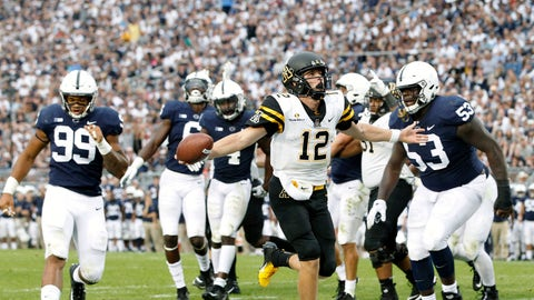 <p>               FILE - In this Sept. 1, 2018, file photo, Appalachian State quarterback Zac Thomas (12) runs in for a touchdown against Penn State during the second half of an NCAA college football game in State College, Pa. Appalachian State returns nine all-Sun Belt players from last season, including the 2018 offensive player of the year in quarterback Zac Thomas. (AP Photo/Chris Knight, File)             </p>
