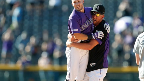 <p>               Colorado Rockies' Garrett Hampson, left, celebrates his walkoff RBI-single with Kyle Freeland in the 10th inning of a baseball game against the Miami Marlins, Sunday, Aug. 18, 2019, in Denver. (AP Photo/David Zalubowski)             </p>