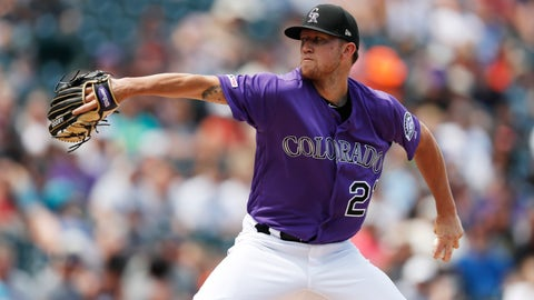 <p>               Colorado Rockies starting pitcher Kyle Freeland works against the San Francisco Giants in the first inning of a baseball game Sunday, Aug. 4, 2019, in Denver. (AP Photo/David Zalubowski)             </p>