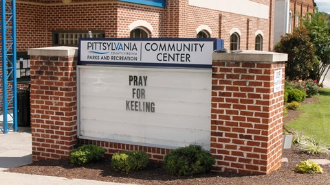 <p>               A sign in front of the Pittsylvania County Community Center in Chatham, Virginia, on Wednesday, Aug. 28, 2019, expresses a call for prayers for the small town of Keeling, Virginia, where three people were shot and killed on Aug. 27. Authorities have charged a man in the case. (AP Photo/Skip Foreman)             </p>