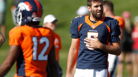 <p>               Denver Broncos quarterback Joe Flacco takes a break during a combined NFL training camp with the San Francisco 49ers Saturday, Aug. 17, 2019, at the Broncos' headquarters in Englewood, Colo. (AP Photo/David Zalubowski)             </p>