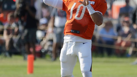<p>               Chicago Bears quarterback Mitchell Trubisky throws a ball during an NFL football training camp in Bourbonnais, Ill., Sunday, July 28, 2019. (AP Photo/Nam Y. Huh)             </p>