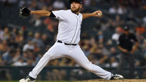 <p>               Detroit Tigers pitcher Matt Hall throws to a Kansas City Royals during the fourth inning of a baseball game Thursday, Aug. 8, 2019, in Detroit. (AP Photo/Jose Juarez)             </p>