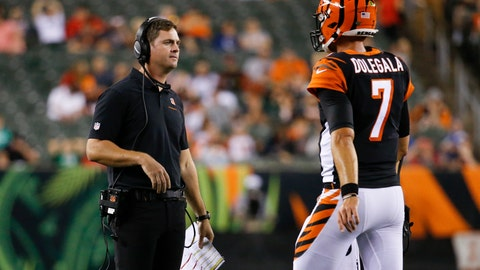 <p>               Cincinnati Bengals coach Zac Taylor, left, meets with quarterback Jake Dolegala (7) during the second half of the team's NFL preseason football game against the Indianapolis Colts, Thursday, Aug. 29, 2019, in Cincinnati. (AP Photo/Frank Victores)             </p>