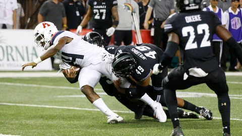 <p>               With no time left in the 4th quarter, Hawaii defensive back Kalen Hicks (3) and defensive lineman Manly Williams (49) tackle Arizona quarterback Khalil Tate (14) just short of the end zone during an NCAA college football game, Saturday, Aug. 24, 2019, in Honolulu. (AP Photo/Marco Garcia)             </p>