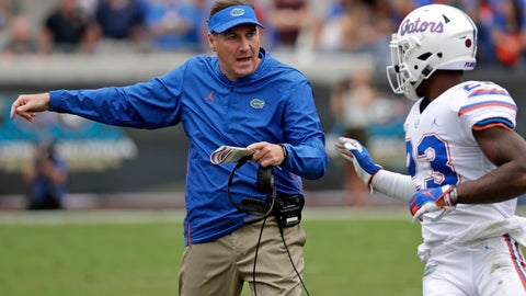 <p>               FILE - In this Oct. 27, 2018, file photo, Florida head coach Dan Mullen, left, talks with defensive back Chauncey Gardner-Johnson during the first half of an NCAA college football game in Jacksonville, Fla. Mullen is navigating a few last-minute roster tweaks before the season opener. (AP Photo/John Raoux, File)             </p>