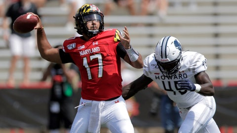 <p>               Maryland quarterback Josh Jackson (17) looks to pass as Howard defensive lineman Elton Jean-Baptiste (45) moves in to make a hit on him during the first half of an NCAA college football game, Saturday, Aug. 31, 2019, in College Park, Md. (AP Photo/Julio Cortez)             </p>