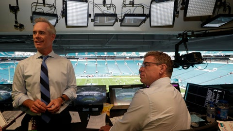 <p>               In this Friday, Aug. 23, 2019, photo, Fox Sports play-by-play announcer Joe Buck, left, and analyst Troy Aikman, right, work in the broadcast booth before a preseason NFL football game between the Miami Dolphins and Jacksonville Jaguars, in Miami Gardens, Fla. The exhibition game served as a dress rehearsal for the Fox Sports crew for the upcoming Super Bowl to be hosted by Miami in 2020. (AP Photo/Lynne Sladky)             </p>
