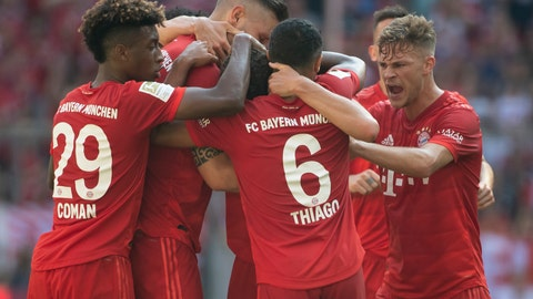 <p>               Munich's players celebrate their side's equalizing goal during a German Bundesliga soccer match between Bayern Munich and FSV Mainz 05 in Munich, Germany, Saturday, Aug.31, 2019. (Sven Hoppe/dpa via AP)             </p>