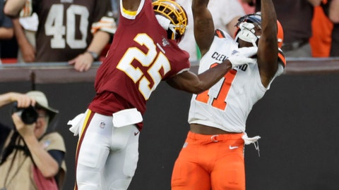 <p>               Washington Redskins cornerback Jimmy Moreland (25) breaks up a pass intended for Cleveland Browns wide receiver Antonio Callaway (11) during the first half of an NFL preseason football game Thursday, Aug. 8, 2019, in Cleveland. (AP Photo/Ron Schwane)             </p>