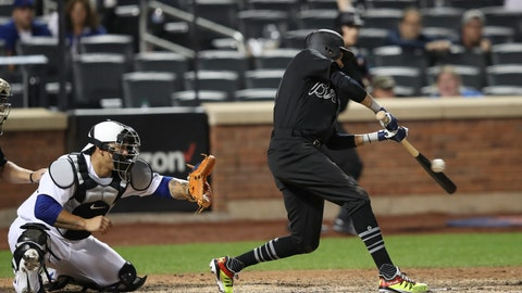 <p>               Atlanta Braves' Billy Hamilton hits an RBI single during the 14th inning of the team's baseball game against the New York Mets, Friday, Aug. 23, 2019, in New York. (AP Photo/Mary Altaffer)             </p>